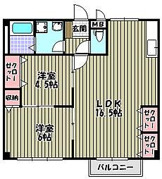 プラザハウス[1階]の間取り