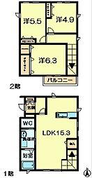 [テラスハウス] 奈良県奈良市あやめ池南6丁目 の賃貸【奈良県 / 奈良市】の間取り