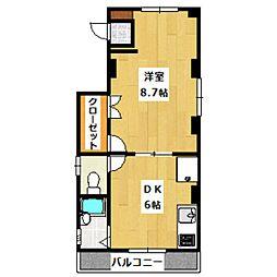 京王線 笹塚駅 徒歩3分の賃貸マンション 3階1DKの間取り