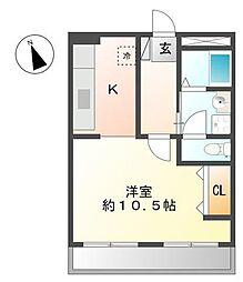 東京都武蔵村山市岸3丁目の賃貸アパートの間取り