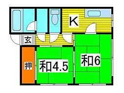 コーポ高柳[201号室]の間取り