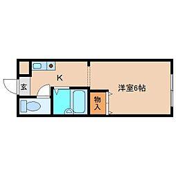奈良県大和高田市大中の賃貸アパートの間取り