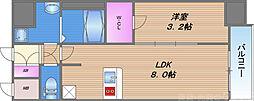 アドバンス大阪ブリアント 12階1LDKの間取り