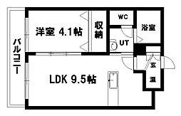ヴェール北大 2階1LDKの間取り