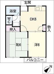 タウニーカワムラB[2階]の間取り