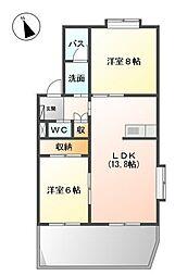 愛知県名古屋市緑区篠の風3丁目の賃貸アパートの間取り