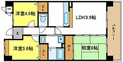 コーシャハイツ喜連西[6階]の間取り