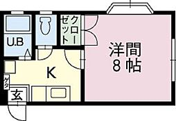 ジャストハウス 2階1Kの間取り