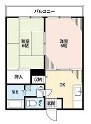 福岡県北九州市小倉南区葛原3丁目の賃貸アパートの間取り