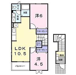 静岡県浜松市東区上新屋町の賃貸アパートの間取り