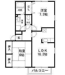 パディ飾磨III番館[2階]の間取り