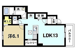 奈良県奈良市中町の賃貸アパートの間取り