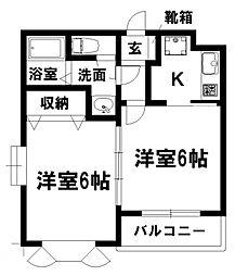 愛知県名古屋市瑞穂区津賀田町2丁目の賃貸アパートの間取り