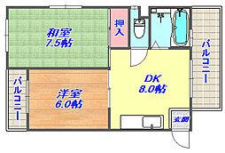 兵庫県神戸市灘区城内通3丁目の賃貸マンションの間取り