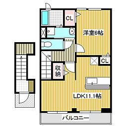 愛知県名古屋市中川区吉津4の賃貸アパートの間取り