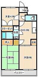 山口県下関市長府松小田中町の賃貸マンションの間取り