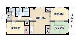 愛知県名古屋市天白区植田1丁目の賃貸マンションの間取り
