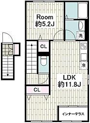 JR京浜東北・根岸線 洋光台駅 徒歩17分の賃貸アパート 2階1LDKの間取り