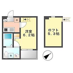 愛知県名古屋市西区枇杷島5丁目の賃貸アパートの間取り