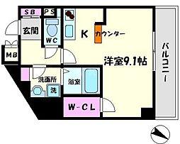 アドバンテージ守口 8階ワンルームの間取り