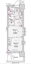東京メトロ東西線 木場駅 徒歩13分の賃貸マンション 2階2Kの間取り