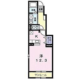 富山県富山市大島2丁目の賃貸アパートの間取り