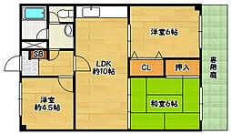 兵庫県神戸市北区南五葉3丁目の賃貸マンションの間取り