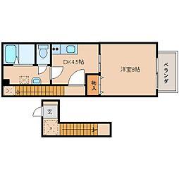 近鉄奈良線 近鉄奈良駅 バス7分 高畑町下車 徒歩2分の賃貸アパート 2階1DKの間取り