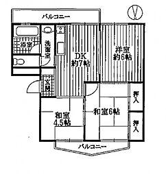 グランドハイツ園田[E104号室号室]の間取り