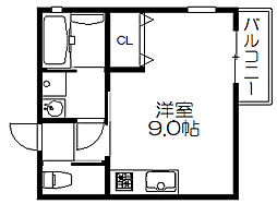 京阪本線 滝井駅 徒歩4分の賃貸アパート 3階ワンルームの間取り