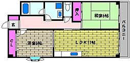 兵庫県芦屋市浜町の賃貸マンションの間取り