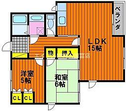 岡山県岡山市中区中島の賃貸マンションの間取り