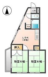 愛知県名古屋市中川区野田2丁目の賃貸マンションの間取り