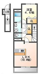 JR山陽本線 魚住駅 バス10分 長池中下車 徒歩17分の賃貸アパート 2階1LDKの間取り
