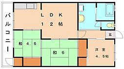 福岡県福岡市東区千早3丁目の賃貸マンションの間取り