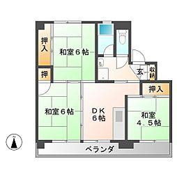 ビレッジハウス落合川 1号棟[3階]の間取り