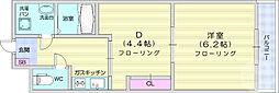JR仙山線 東北福祉大前駅 徒歩19分の賃貸マンション 8階1DKの間取り