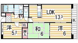 パルティール田中[4階]の間取り