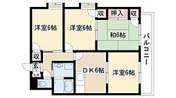 愛知県名古屋市昭和区川名町1丁目の賃貸マンションの間取り