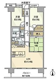 JR京浜東北・根岸線 大井町駅 徒歩13分の賃貸マンション 11階3LDKの間取り