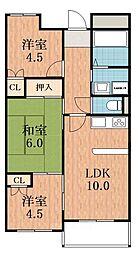 大阪府大阪市阿倍野区晴明通の賃貸マンションの間取り