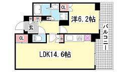 プラウドタワー神戸県庁前[1203号室]の間取り