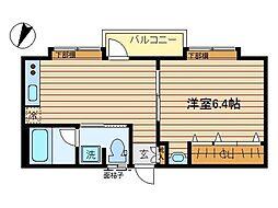 東京都大田区北糀谷2丁目の賃貸アパートの間取り