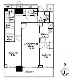 ザ・パークハウス晴海タワーズ クロノレジデンス 41階2LDKの間取り