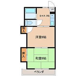 埼玉県東松山市若松町2丁目の賃貸アパートの間取り