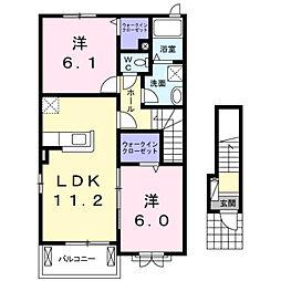 彦島迫町6丁目アパート[201号室]の間取り