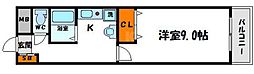 ラコンテM 5階1Kの間取り