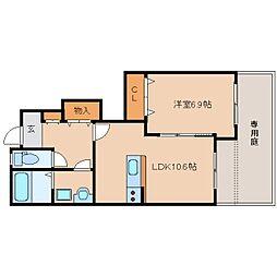 近鉄生駒線 菜畑駅 徒歩10分の賃貸アパート 1階1LDKの間取り
