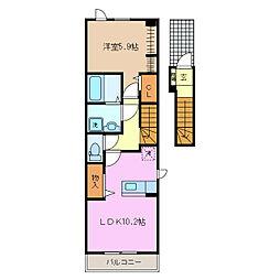 近鉄名古屋線 伊勢朝日駅 徒歩24分の賃貸アパート 2階1LDKの間取り