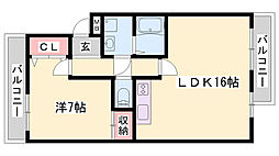 JR東海道・山陽本線 姫路駅 バス7分 五軒邸下車 徒歩2分の賃貸マンション 4階1LDKの間取り